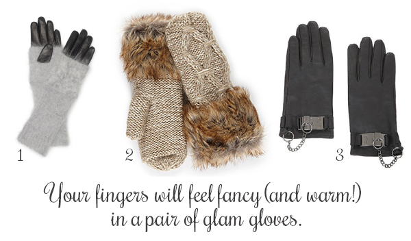 1. Abby Angora Gloves, Club Monaco. 2. Faux Mohair Mittens, Simons. 3. Toggle Cuff Leather Gloves, BCBG Max Azria.