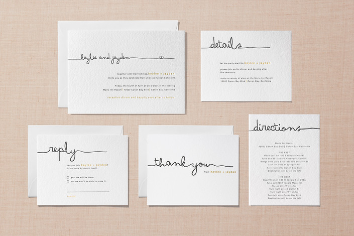 """A sample wedding suite from Minted.com - """"The Happy Couple"""" Letterpress Invites"""