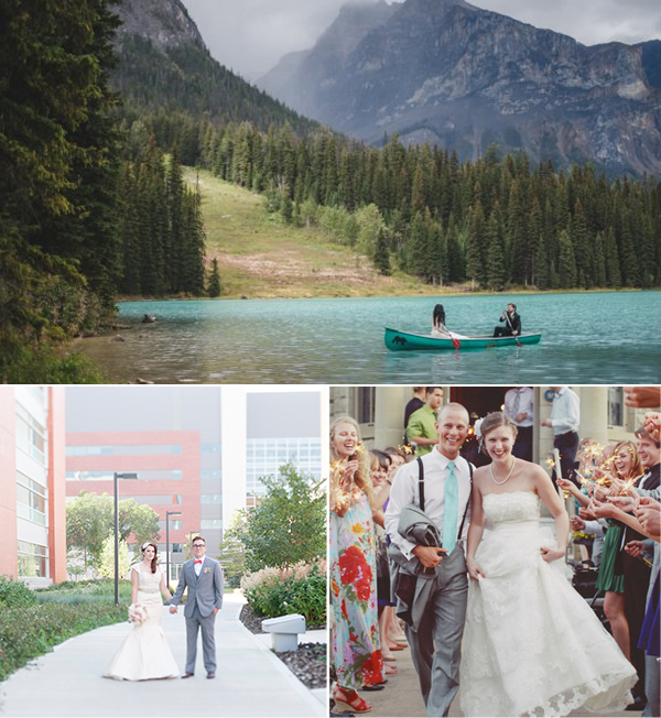 Top: Carey Nash Photography. Bottom: Brianna Hughes Photography (left), Carmyn Joy (right) via Jennifer Bergman Weddings