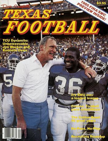Davis on the cover of Texas Football.