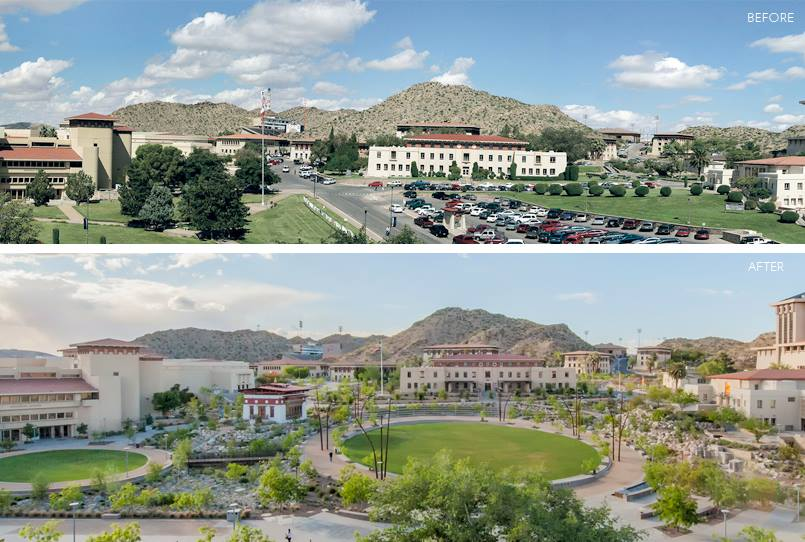 Centennial Plaza before and after.