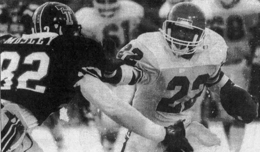James Dixon avoid James Mosley in the 1988 snow game.