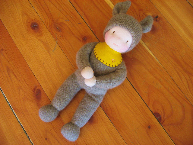 The first Wee Baby doll, made with repurposed merino and stuffed with wool. A little doll for a small child, by Fig and me.