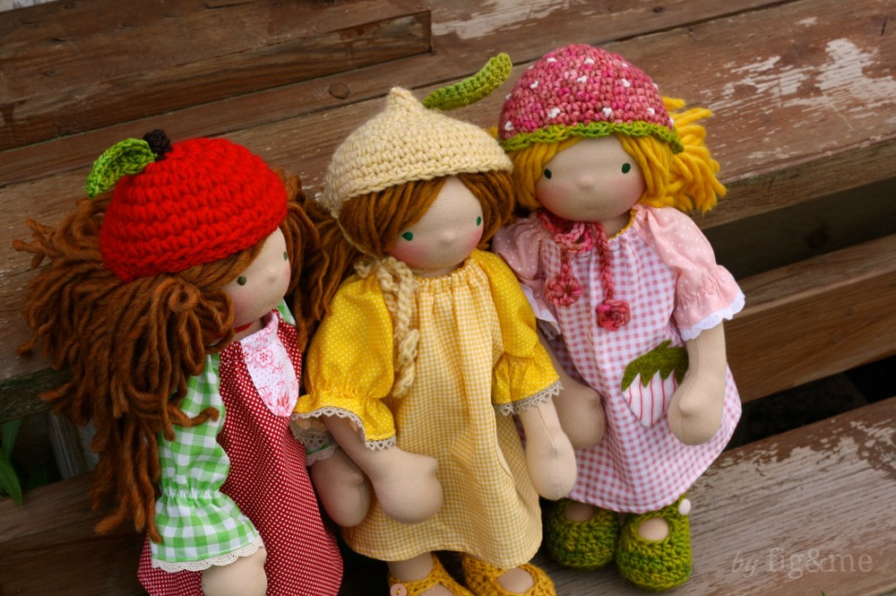 My three little gingham dolls, by fig and me.