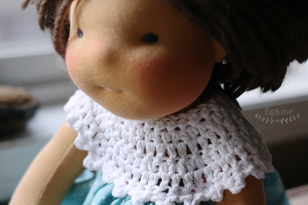 Doll dress with crochet yoke, by Fig and Me.