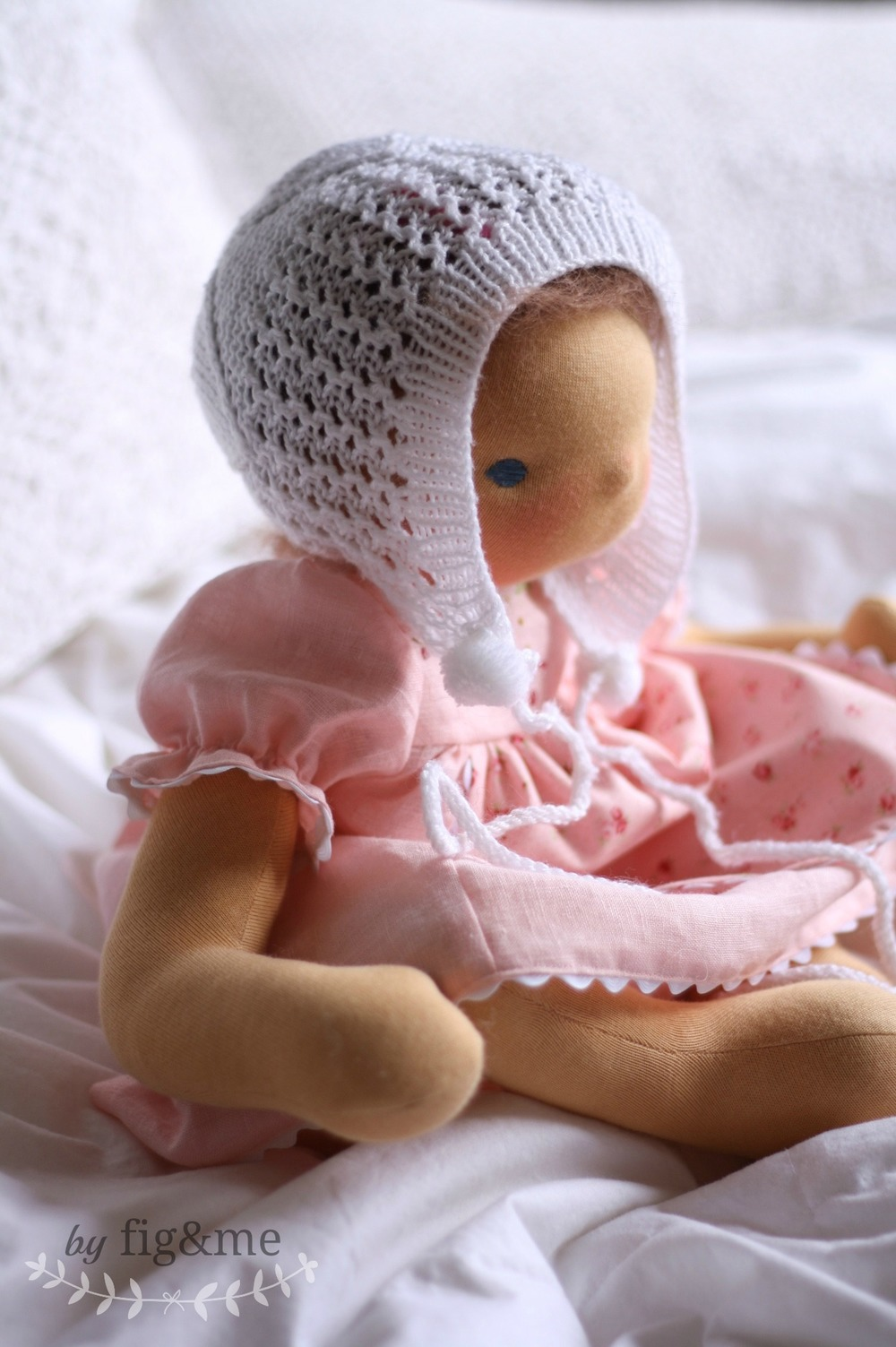 Handmade natural doll in pretty pink, by Fig and me.