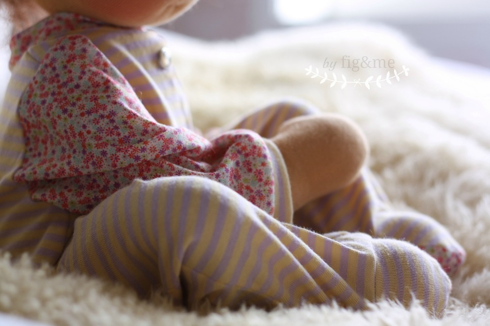 Handmade baby doll pyjamas, by Fig and Me.
