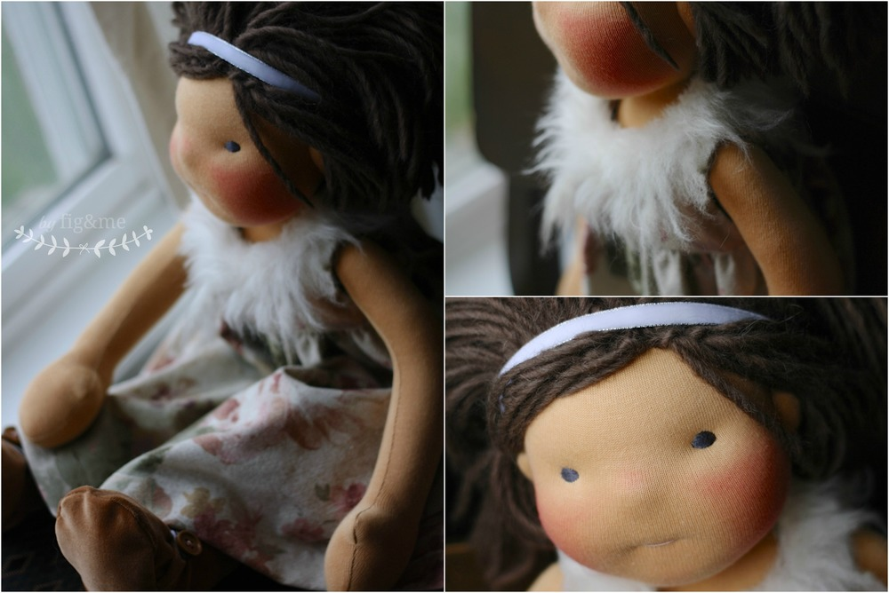 Handmade doll dress in linen and fur, by Fig and Me.