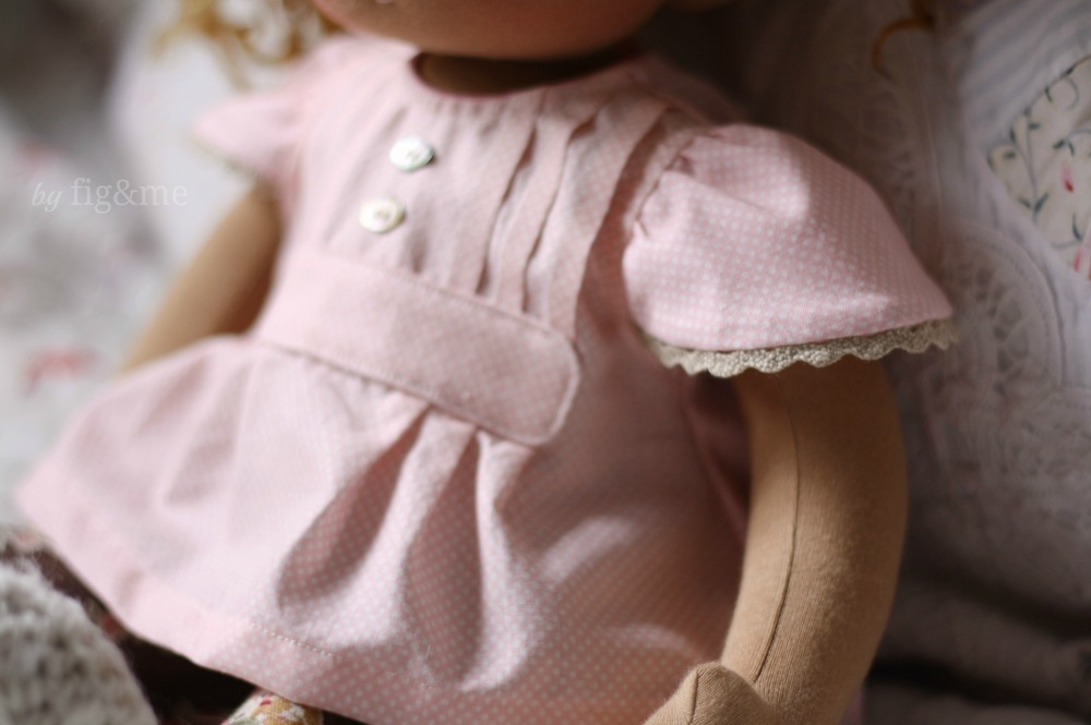 Doll blouse, with pintucks and mother of pearl buttons plus cap sleeves, by Fig and me.