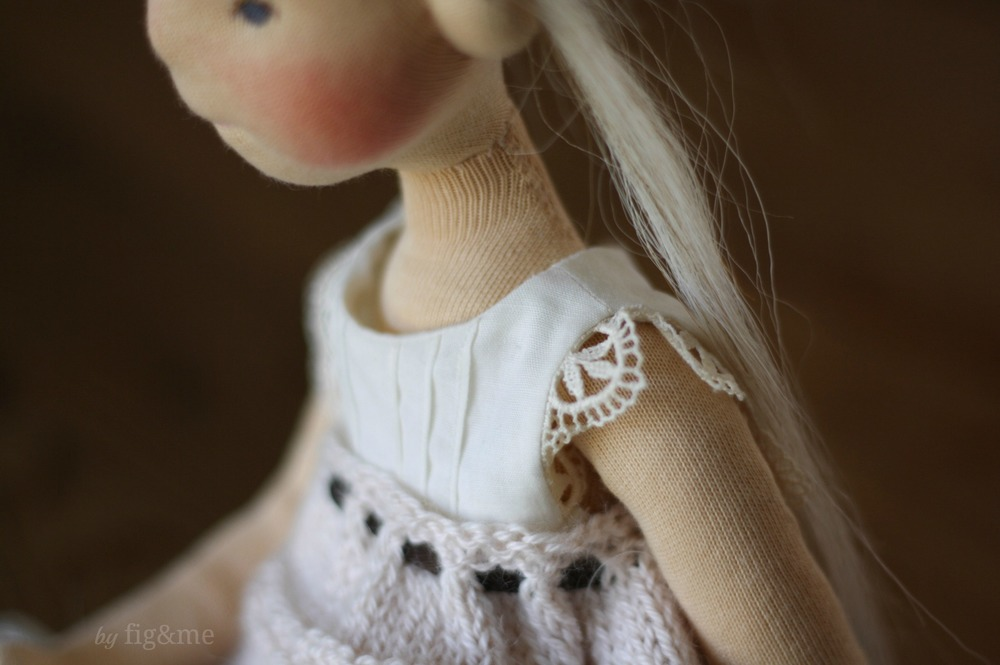 Beautiful details on Cygnet's clothing, a Mannikin style doll by Fig and me.