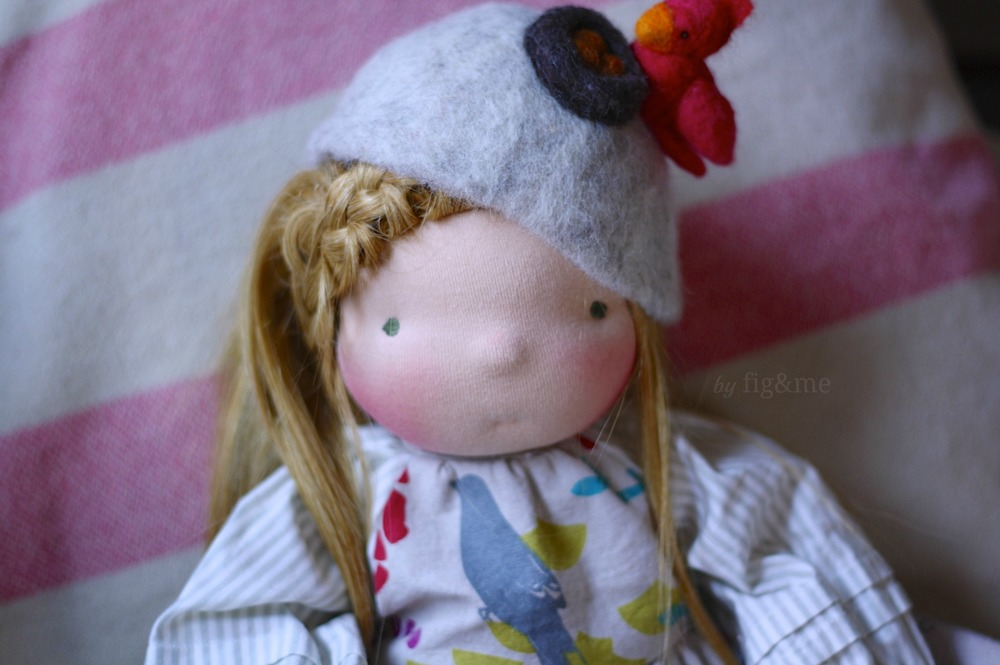 Tonne with her needlefelted hat, by Fig & Me.