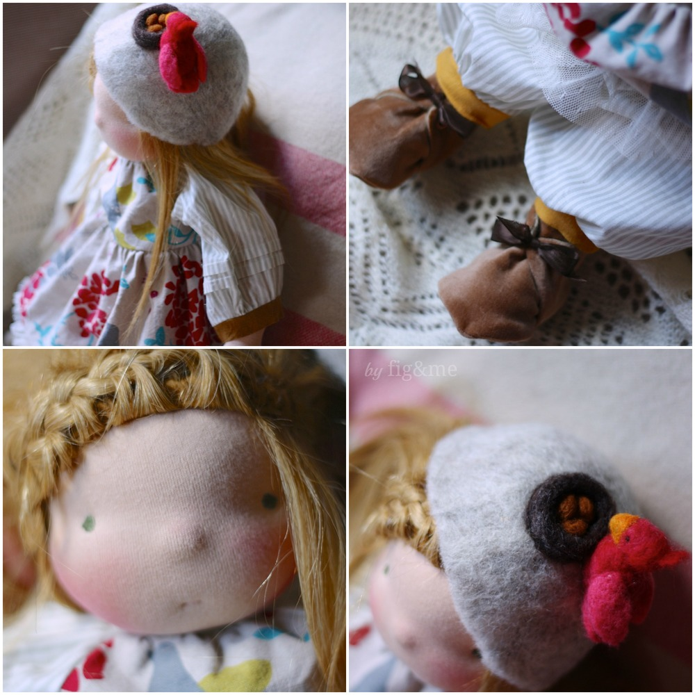 Linen doll dress and wool hat, by Fig and Me.