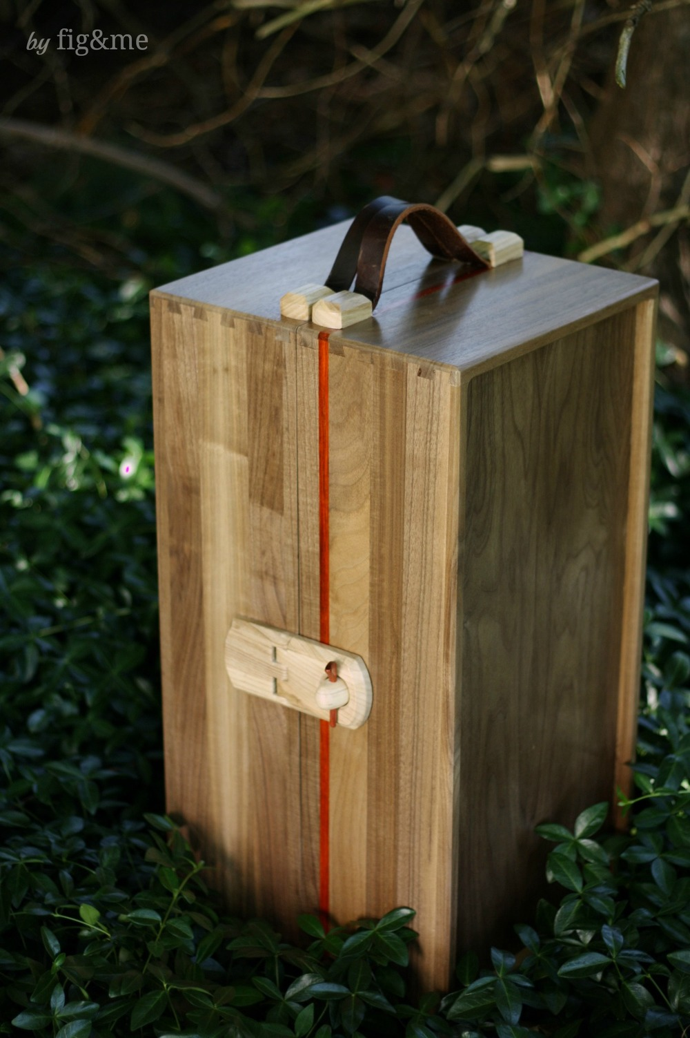 Wooden steam trunk, with walnut and leather straps. By Fig and me.