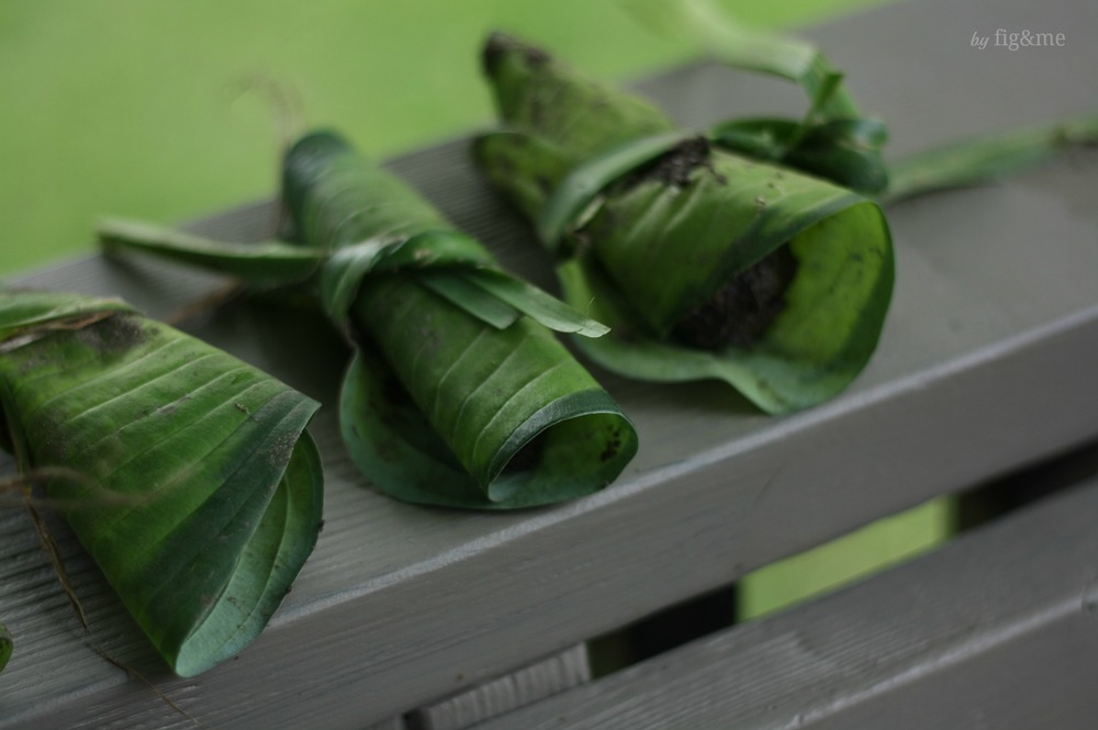 Mud tamales with hostas, by Fig and me.