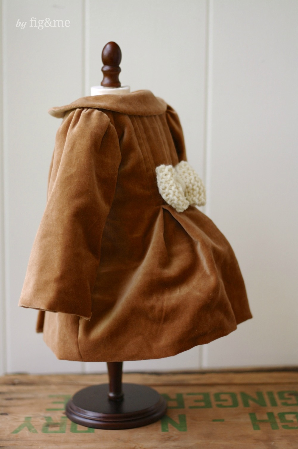 Handmade doll velveteen coat, by Fig and me.