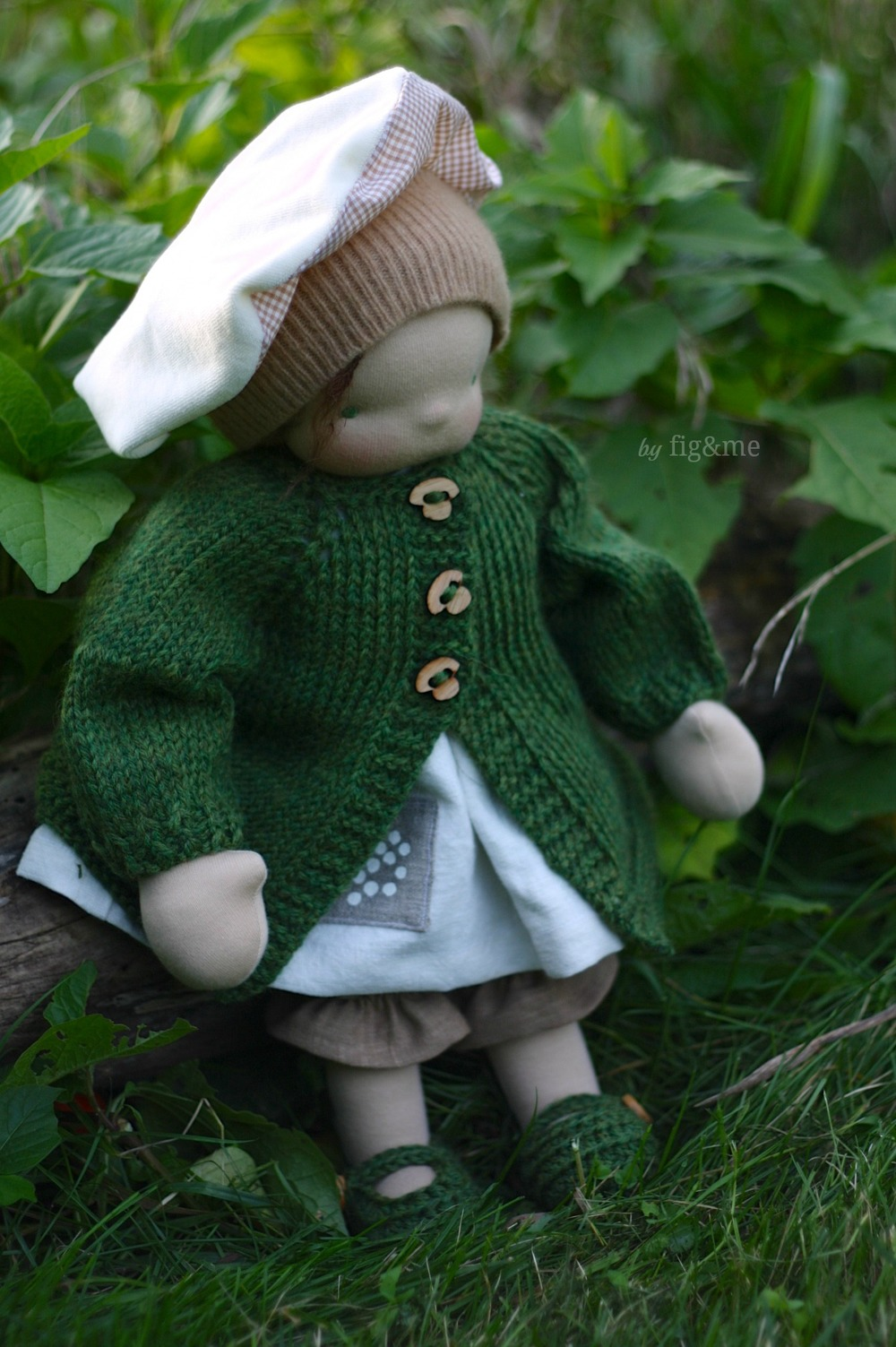 Molly in her green coat, by Fig and me.