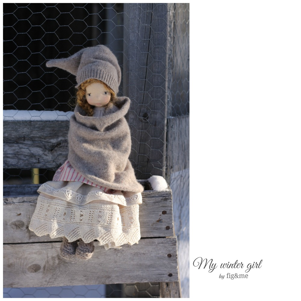 My winter girl, a Mannikin style doll by Fig&me. Wearing victorian lace and merino clothing.