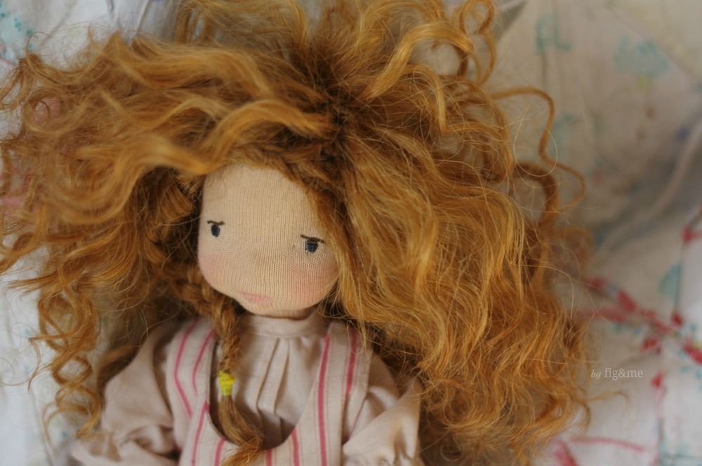 Melina and her wild hair, a Mannikin style natural fiber art doll by Fig and me.