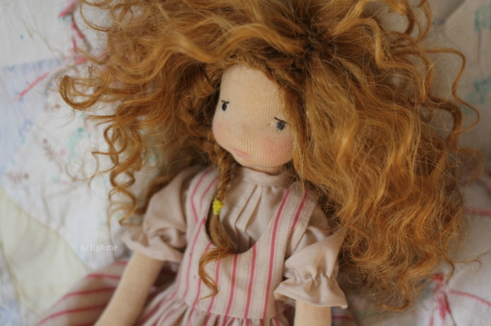 Little Melina at home, a Mannikin style natural fiber art doll by Fig and me.
