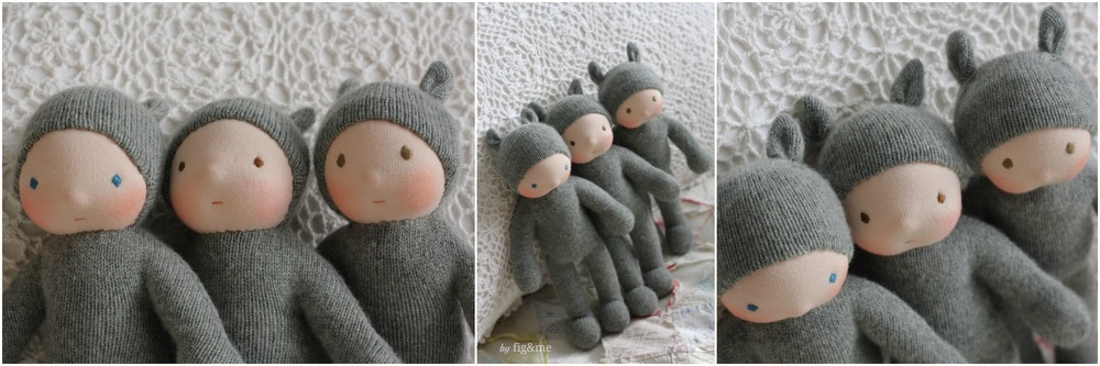 Left to right: Sunny, Dusty and Wiggly. Wee Babies by Fig&me.