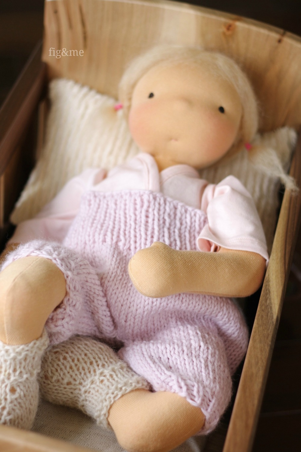 Baby Lou in her hand knit clothes, by Fig&me