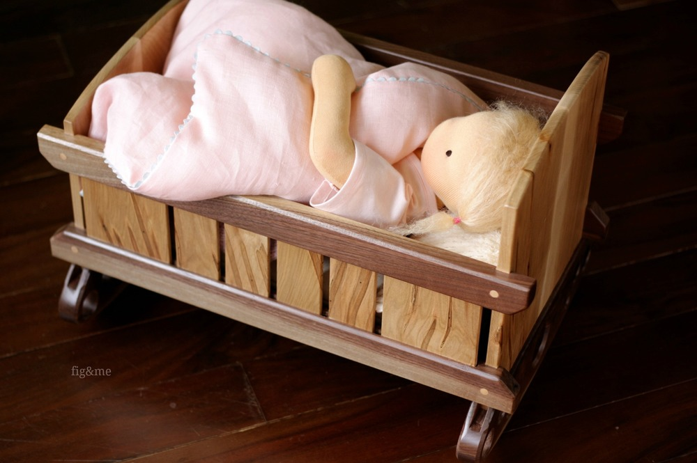 Baby Lou in her walnut cradle, by Fig&me