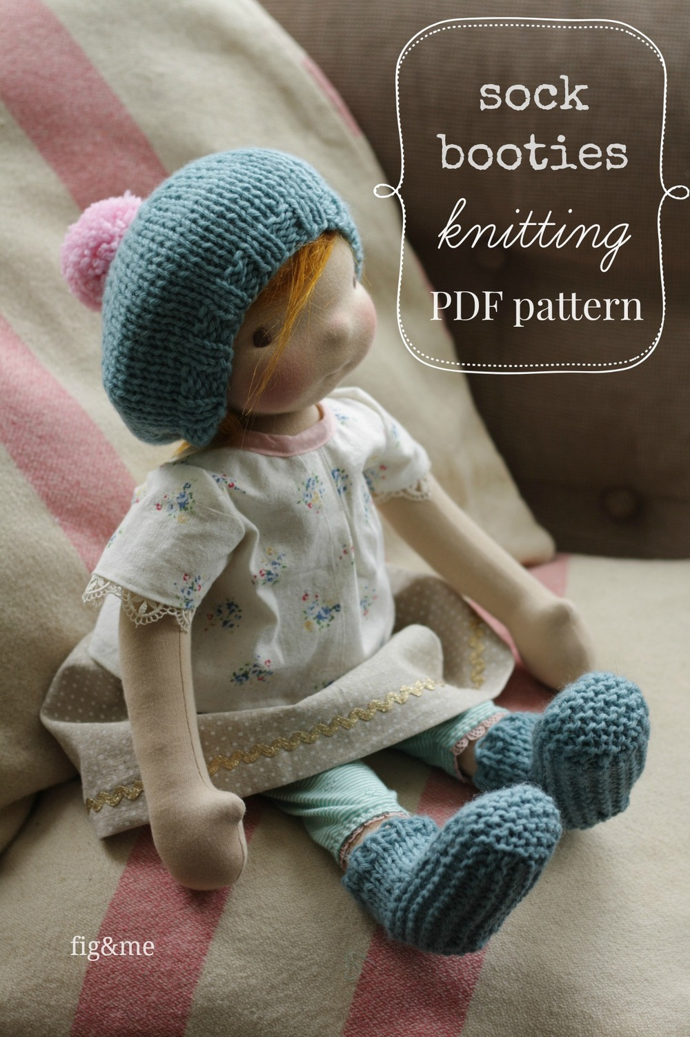 Knitting Pattern Doll Booties : A new pattern for cozy feet, sock booties.   fig & me