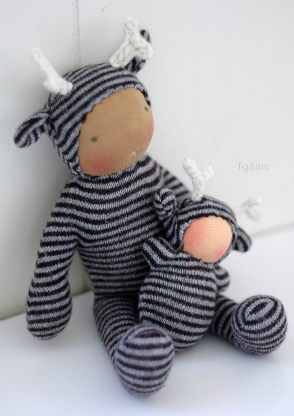 Wee Babies in wool and stripes, by Fig and Me.