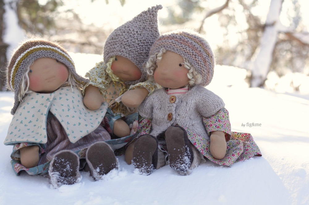 "Three silly princesses: Helena, Etheldred and Marushka. 17"" tall Figlette style dolls by Fig and Me."