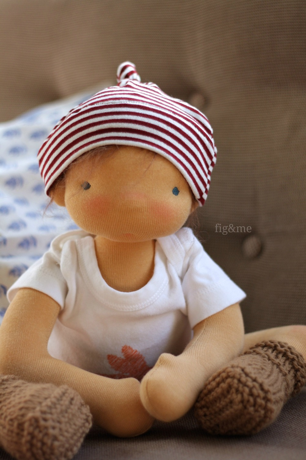 "Little Boy Blue, a 14"" baby-style doll by Fig and Me."