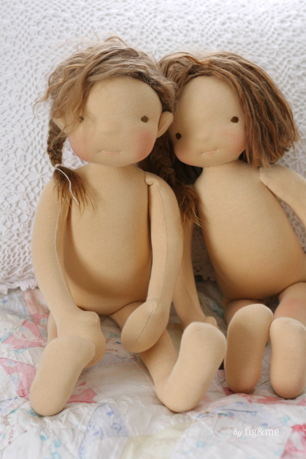 "The little sisters, two 20"" tall figlette custom dolls by Fig and Me."