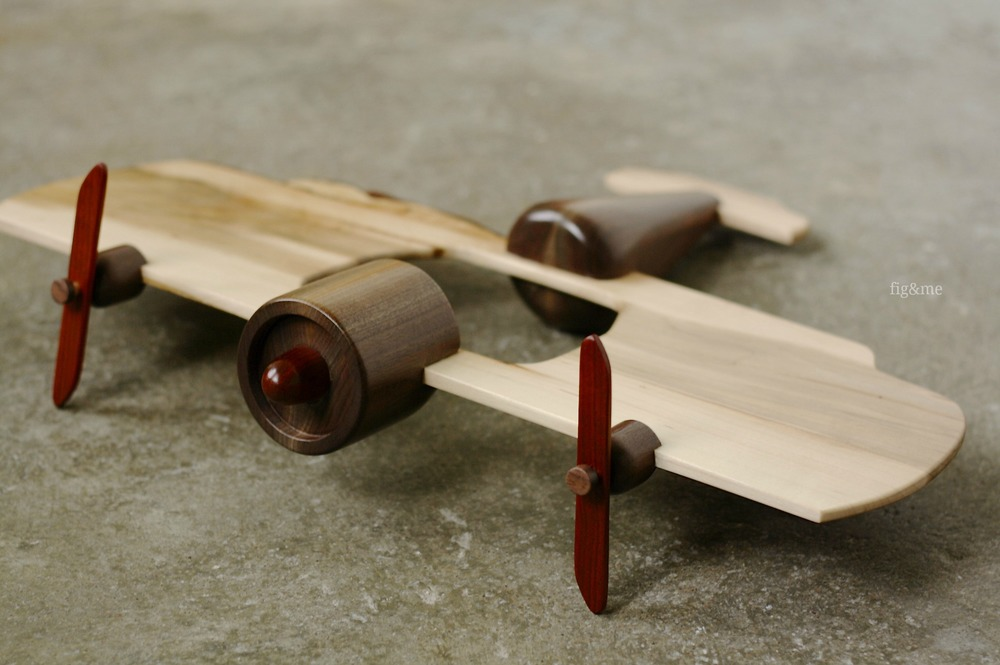 Wooden doll airplane, by Fig and Me.