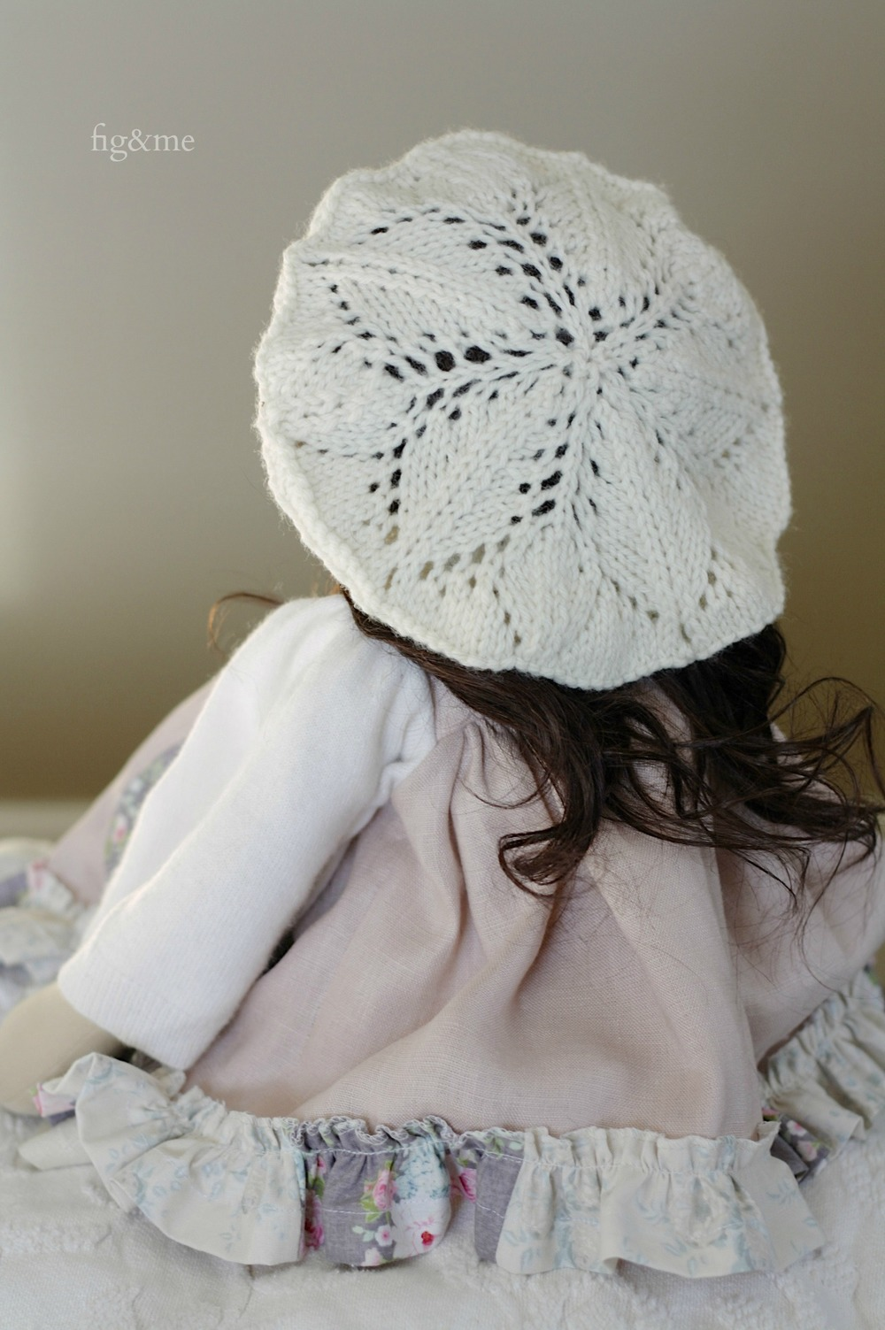 Lace star on her wool beret, by Fig and Me