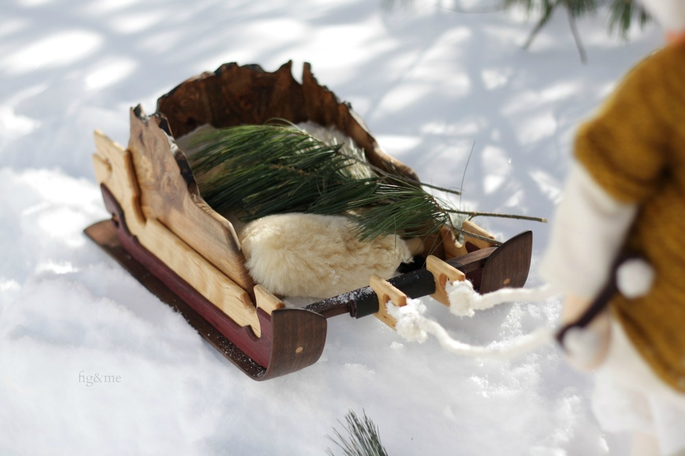 wooden sleigh by fig and me