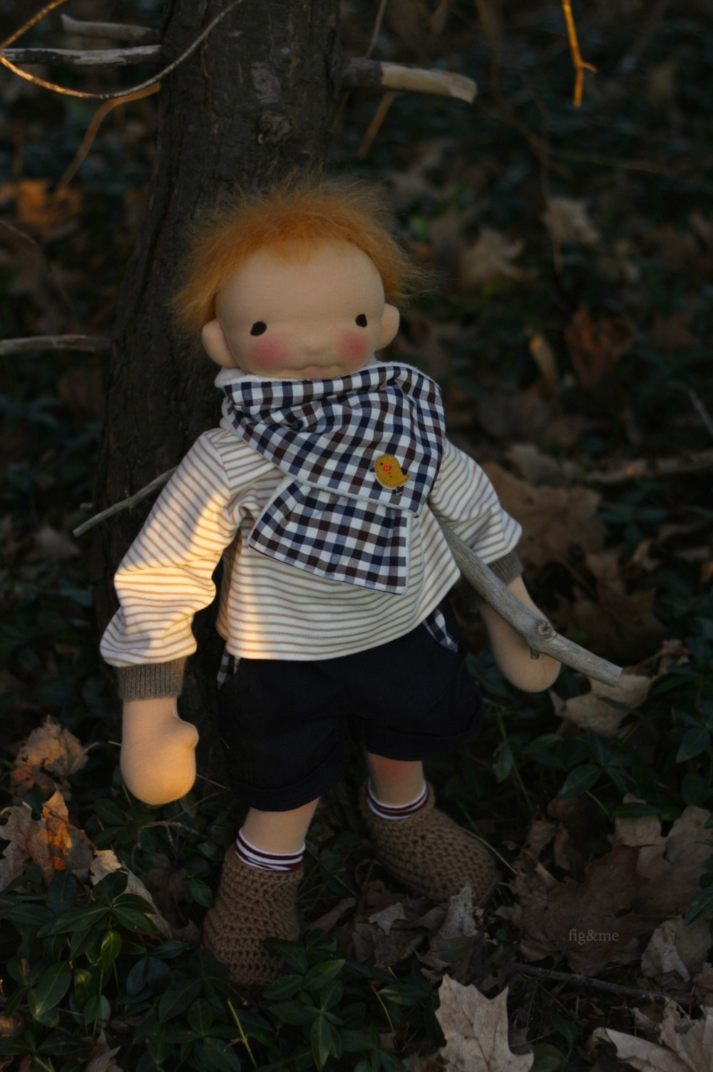"""Seoirse, a 19"""" figlette doll by Fig and me."""