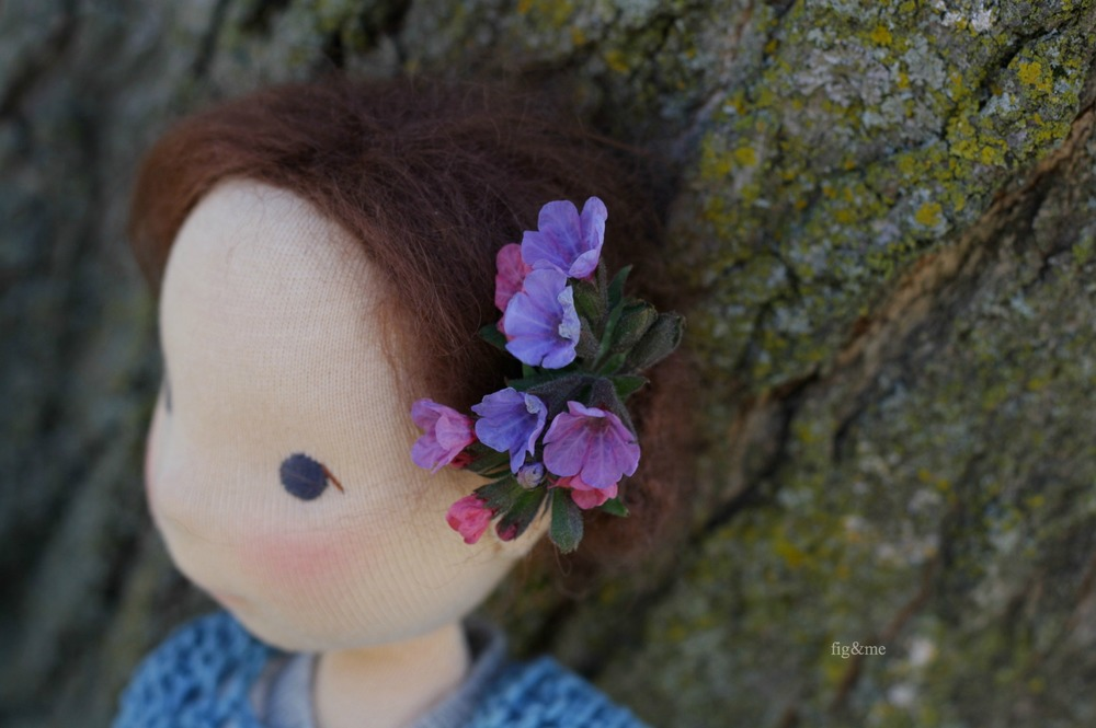 Poet wears Pulmonaria (Lungwort) in her hair, by Fig and me.