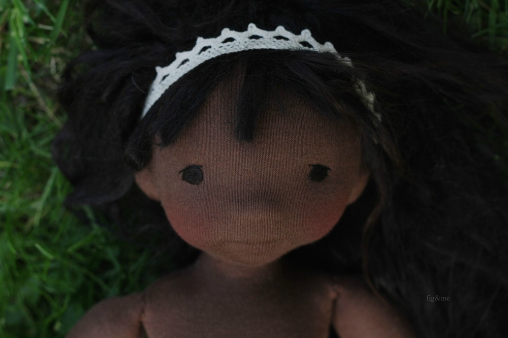 Sweet Fernanda, a natural handmade cloth doll,  by Fig and me.