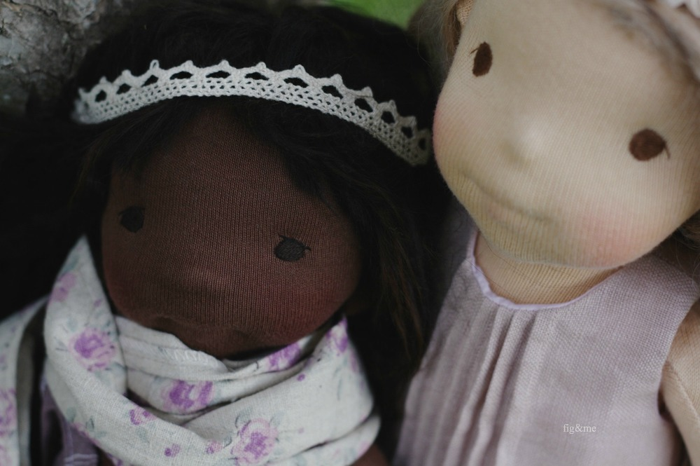 Fernand and Pomona, natural dolls by Fig and me.
