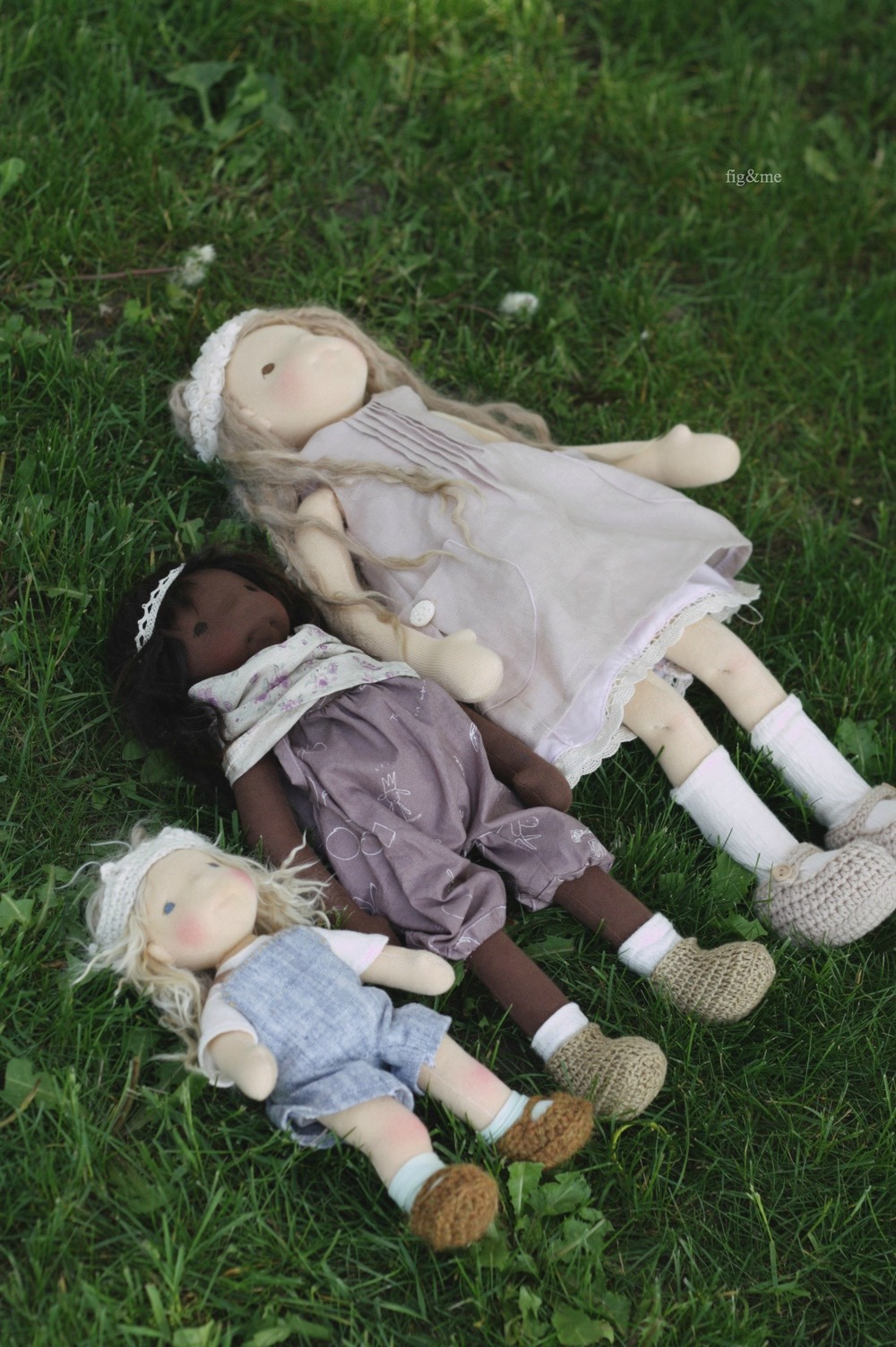 Three little dolls, 8.5in, 15in, 20in. By Fig and me.