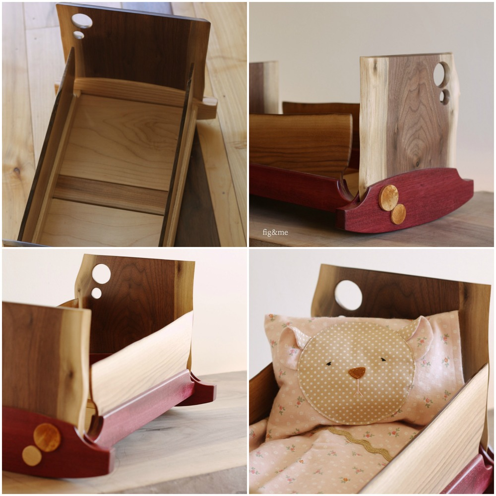 Wooden doll cradle, bear pillow by Fig and me.