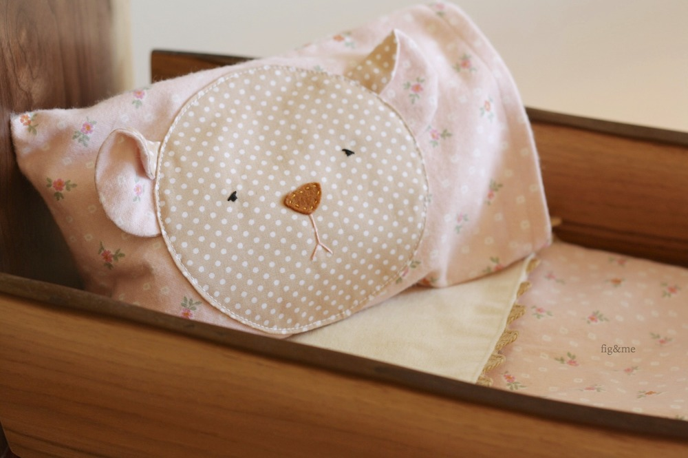 Handmade bear pillow, for your pretty doll bed. By Fig and Me.