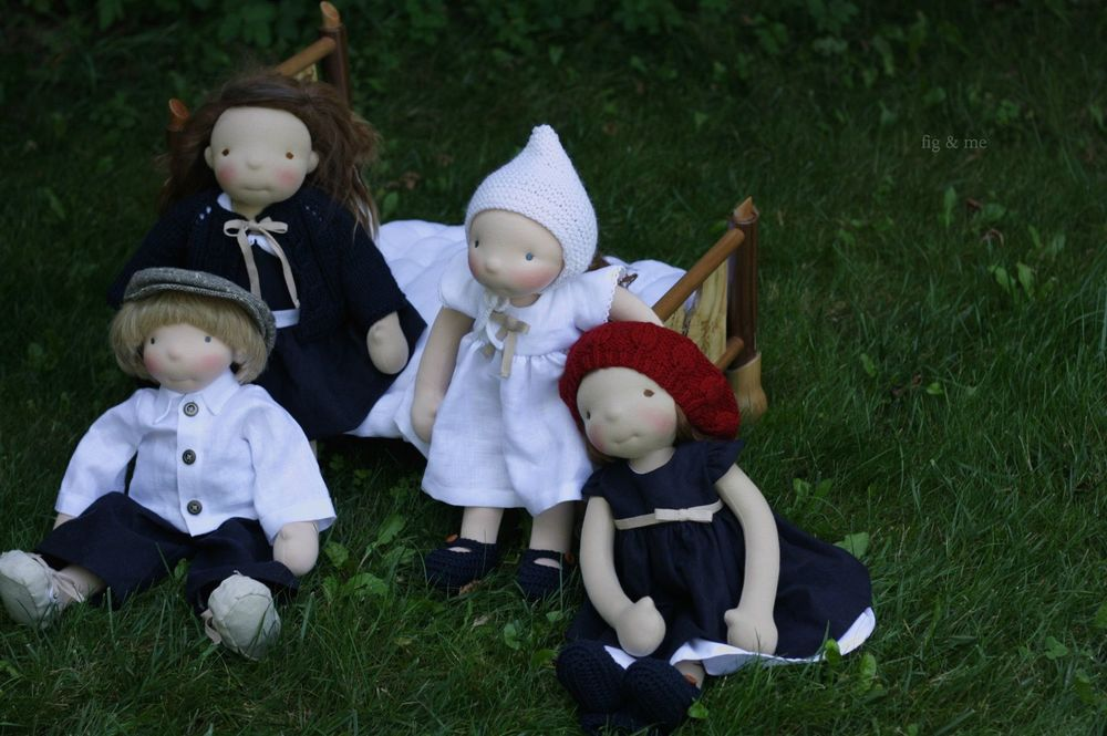 Four custom figlette dolls by Fig and me.
