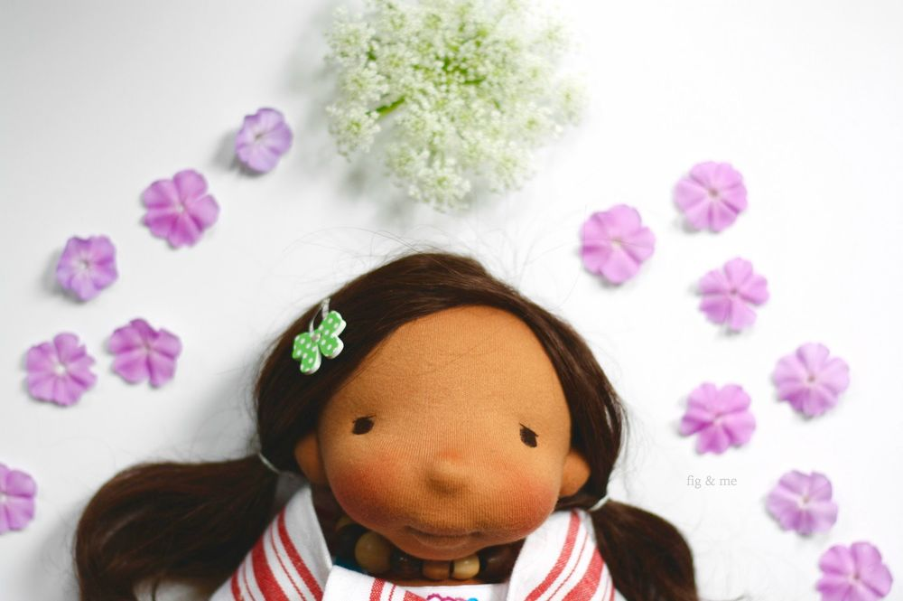 Adelita a custom all-natural handmade cloth doll by fig and me.
