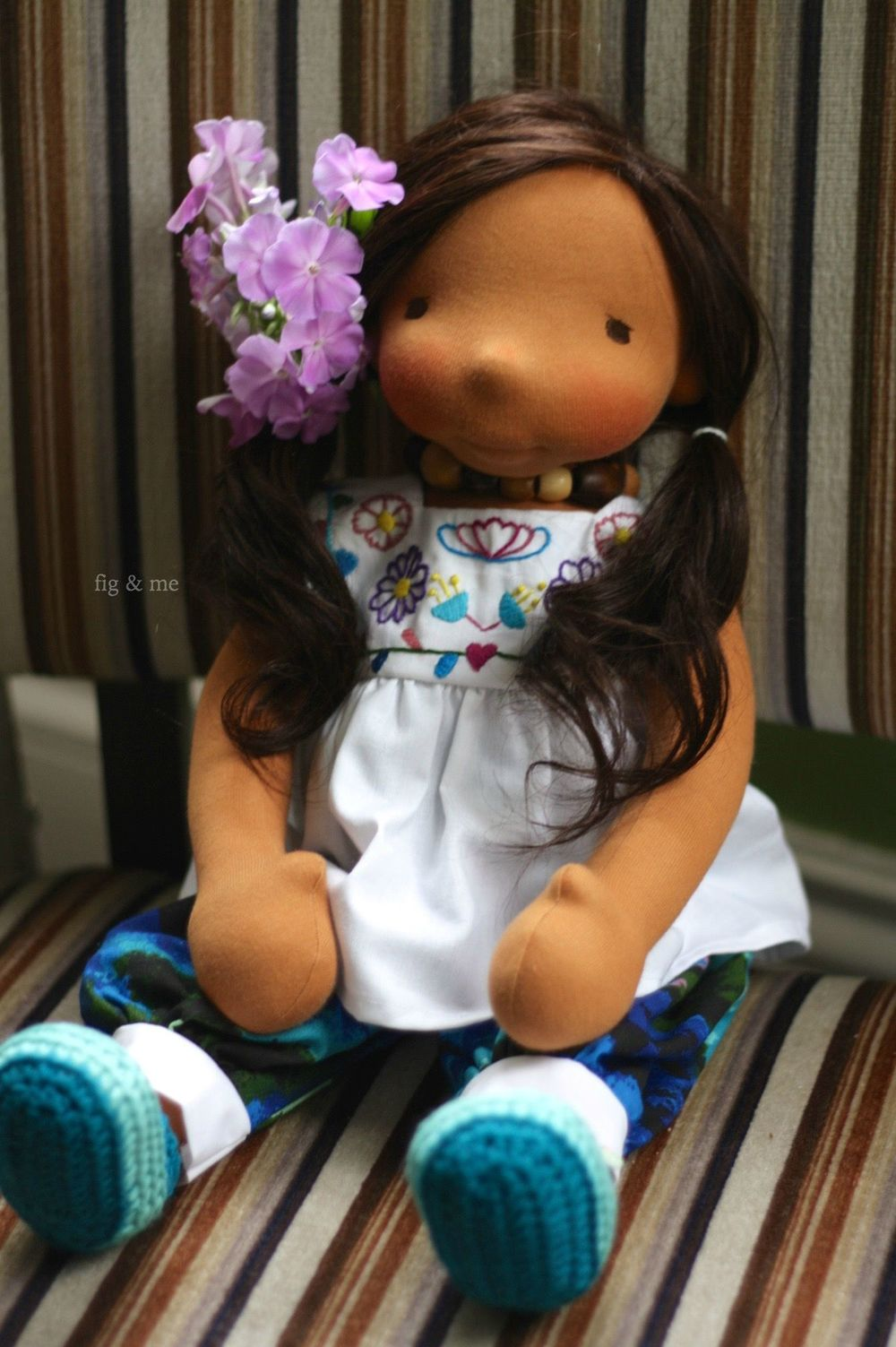 Adelita is a custom all-natural handmade doll by Fig and me.