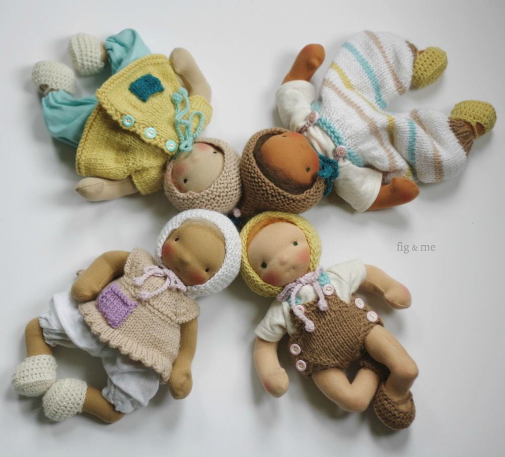 Four cloth little baby dolls by Fig and me
