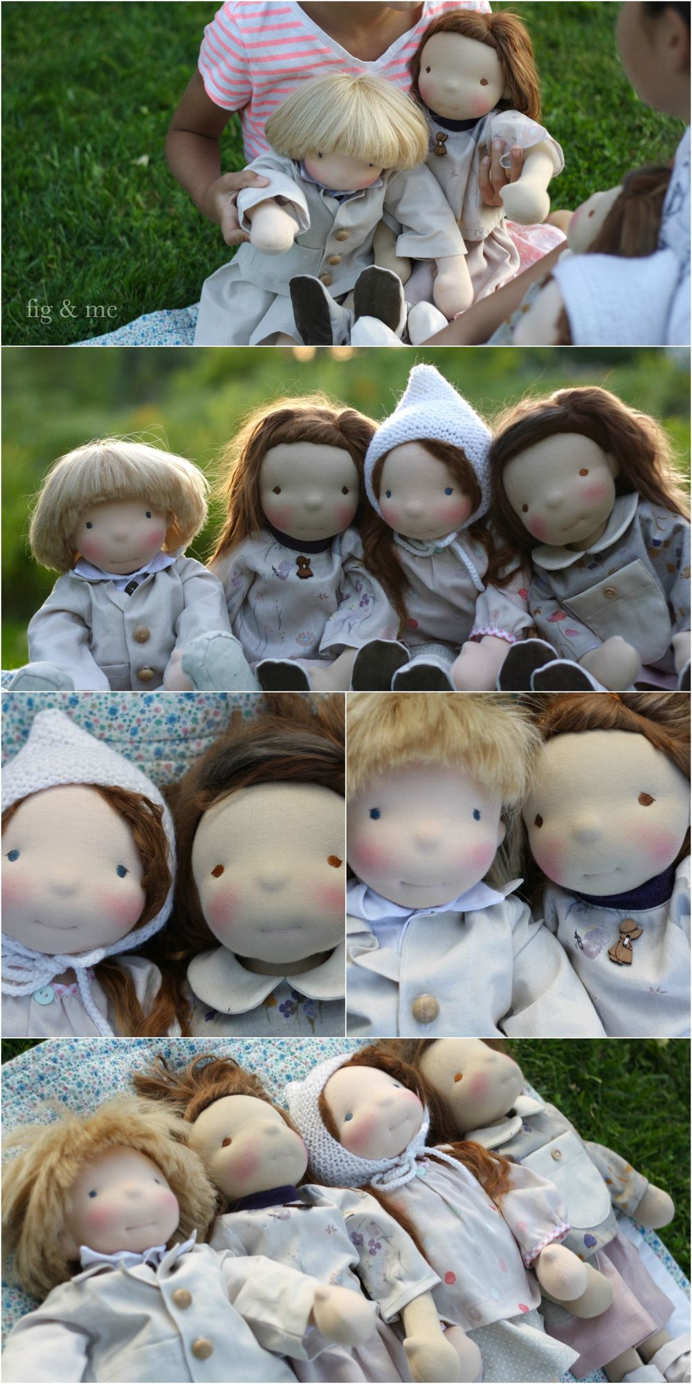 Four custom natural cloth dolls by Fig and me. Full of precious details to entertain their mom for hours.