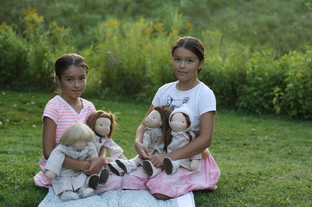 These children of mine, holding children of yours. Four custom cloth dolls by Fig and me.