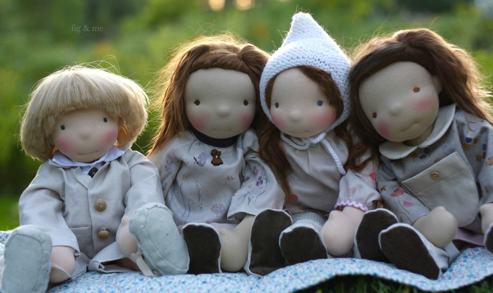 The little children, four custom cloth dolls by Fig and me.
