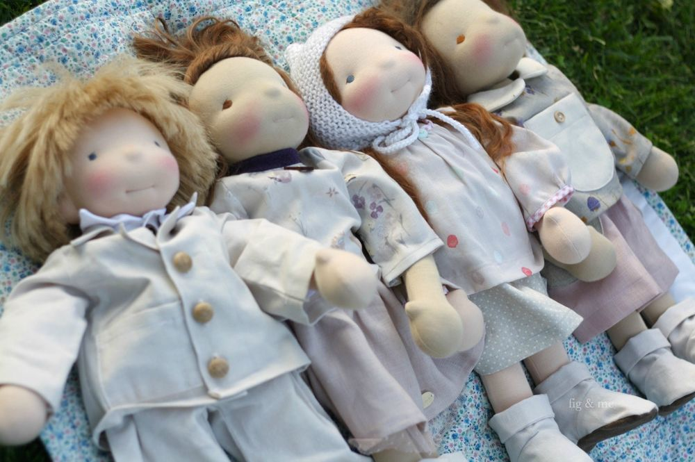 The Lovely gang, four custom cloth dolls, waldorf inspired, by Fig and me.