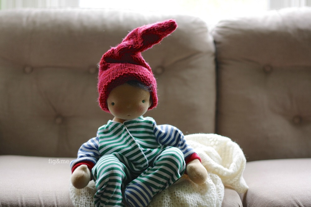 """Thorpe, a 14"""" baby cloth doll by Fig and me."""